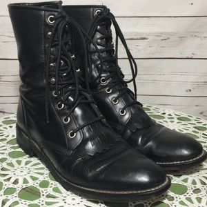Justin Roper Black Leather Laced Boots